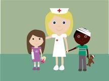 Pediatrische verpleegster en 2 verwonde kinderen vector illustratie