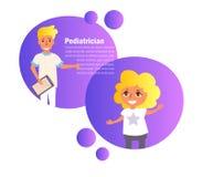 pediatriskt Doktor Vector för barn` s cartoon Isolerad konst royaltyfri illustrationer