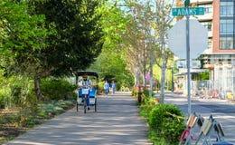 Pedicab και πεζοί στον περίπατο όχθεων ποταμού σε Corvallis, Όρεγκον στοκ φωτογραφία