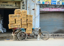 A pedicab carrying goods on street in Amritsar, India.  Royalty Free Stock Photography