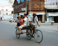 Pedicab drawn by bicycle, Vietnam Royalty Free Stock Photos