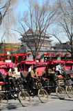 Pedicab drivers waiting for customer. Pedicab drivers were waiting for customers in Houhai,Beijing.When tourists come to Beijing, and curious about how and where royalty free stock photos