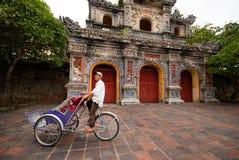 Pedicab at the entrance of Citadel, Hue, Vietnam Stock Images