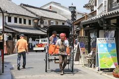 Free Pedicab-guide On The Street Of Kurashiki, Japan. Royalty Free Stock Image - 109107356