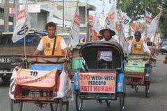 Pedicab parada gdy przyjęcie demokracja w Indonezja Obraz Royalty Free