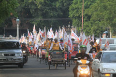 Pedicab parade when the party of democracy in Indonesia Stock Image