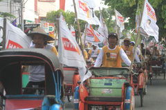 Pedicab parade when the party of democracy in Indonesia Royalty Free Stock Images