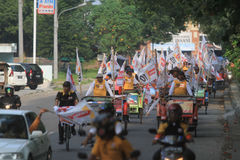 Pedicab parade when the party of democracy in Indonesia Royalty Free Stock Photography