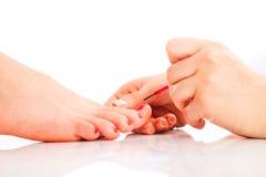 Pedicure ногтя на курорте Стоковая Фотография