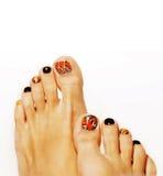 Pedicure при дизайн бабочки изолированный на белизне Стоковое Фото