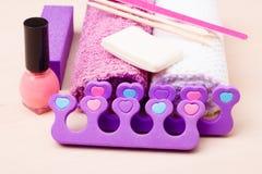Pedicure accessories set tools closeup Stock Photography