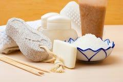 Pedicure accessories set tools closeup. Foot nails care and cosmetics. Pedicure accessories set tools close up Stock Photo