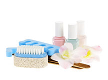 Pedicure accessories and tools. Pedicure accessories with nail polish on white background Stock Photo