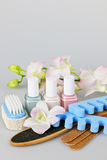 Pedicure accessories and tools. With nail polish Stock Images