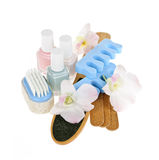 Pedicure accessories and tools. Pedicure accessories with nail polish on white background Royalty Free Stock Images