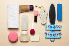 Pedicure accessories tools top view Royalty Free Stock Photo