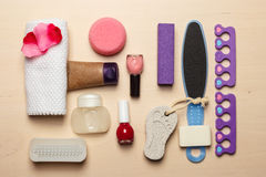 Pedicure accessories tools top view Stock Photo