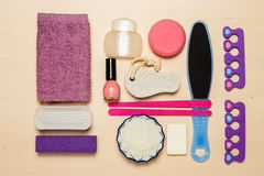 Pedicure accessories tools top view Royalty Free Stock Photos