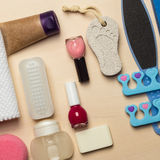 Pedicure accessories tools top view Stock Image