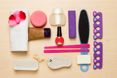 Pedicure accessories tools top view Stock Photography