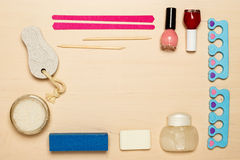 Pedicure accessories tools top view Royalty Free Stock Images