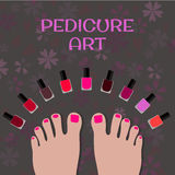 Pedicure art. Image toes and colorful nail polish Royalty Free Stock Photography