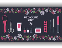 Pedicure art. set of accessories and tools for pedicure Royalty Free Stock Photos