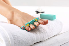 Pedicure, beautiful healthy nails Stock Photos