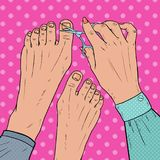 Pedicure Beauty Salon. Pop Art Female Hands Cares about Foot Nails. Fingernails Cutting with Scissors. Vector illustration Stock Photography