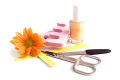 Pedicure beauty set Royalty Free Stock Photo