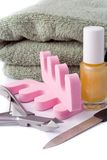 Pedicure beauty set and towel Royalty Free Stock Photos