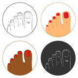 Pedicure and bodycare concept. Icon set Royalty Free Stock Images