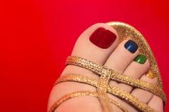 Pedicure colorido bonito. foto de stock royalty free