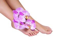 Pedicure con i fiori rosa dell'orchidea isolati su bianco Fotografie Stock Libere da Diritti