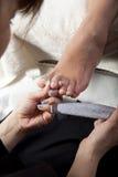 Pedicure del uña del dedo del pie Fotografía de archivo