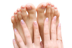 Pedicure e manicure Fotografia de Stock Royalty Free