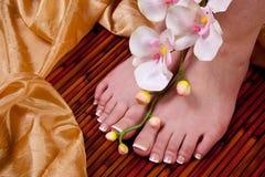 Pedicure on female feet royalty free stock photo