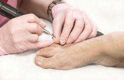 Pedicure femminile Fotografie Stock