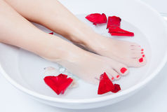 Pedicure foot treatment with water Royalty Free Stock Images