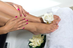 Pedicure on foot Stock Images