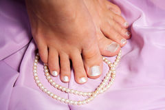 Pedicure. French style. royalty free stock photography