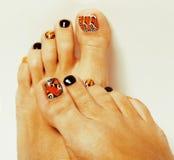 Pedicure jak motyli projekt na białym tle Zdjęcie Royalty Free