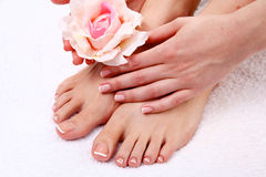 Pedicure on legs and beautiful manicure on hands Stock Photography