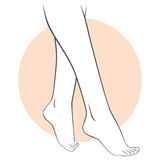 Pedicure Legs Care. Stylized illustration of female feet pedicure concept vector illustration