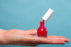 Pedicure manicure red nail polish on female palm Royalty Free Stock Images
