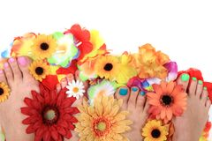Pedicure nails, feet and flowers Stock Photos