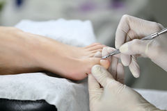 Pedicure process. cuticle Royalty Free Stock Photo