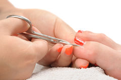 Pedicure process macro closeup Royalty Free Stock Images