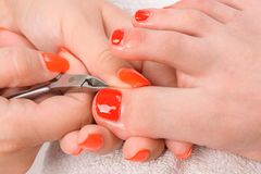 Pedicure process macro closeup Stock Photography