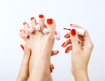 Pedicure process. Red manicure and pedicure Stock Images